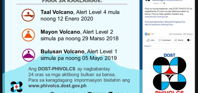 Here are reliable Facebook pages to get news on the Taal volcano eruption